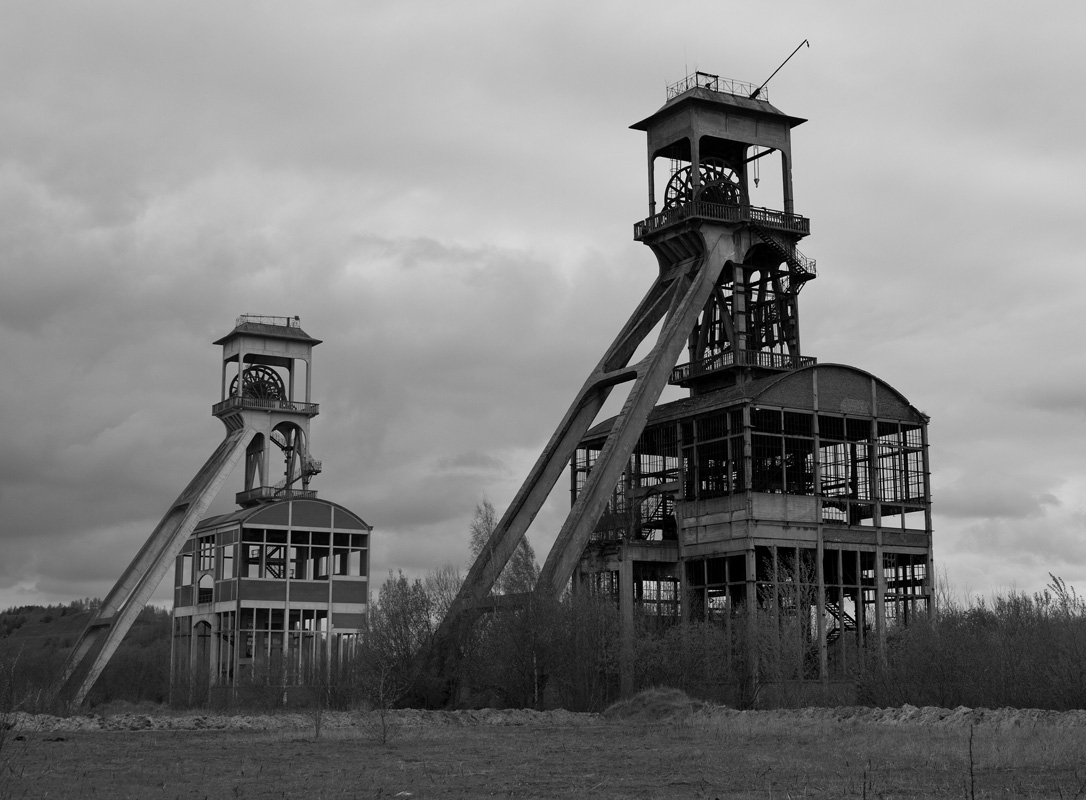 Two headframes over an underground mining shaft
