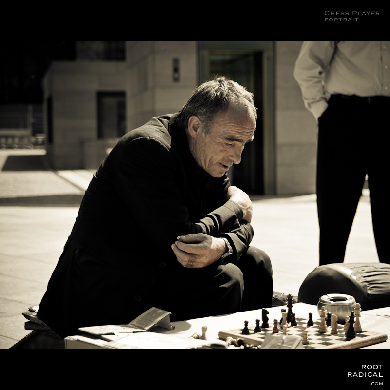 Portrait of a chess player outside in front of cologne cathedral