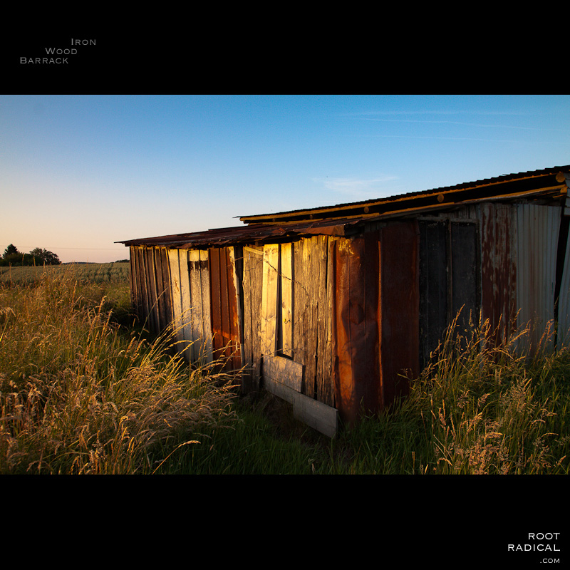 An old hut made of iron & wood in a field
