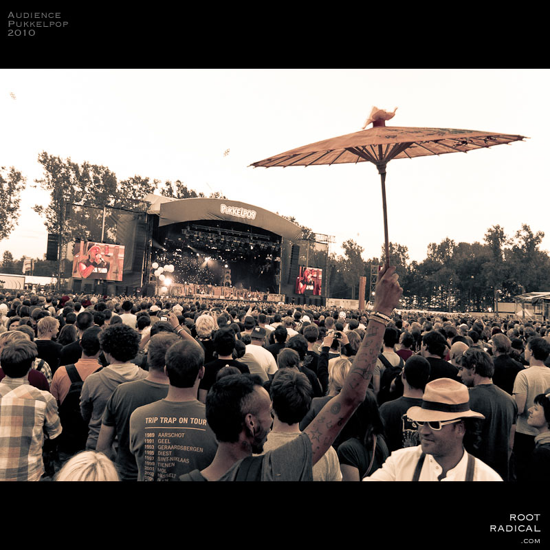 Image shows the freaky audience of Pukkelpop 2010