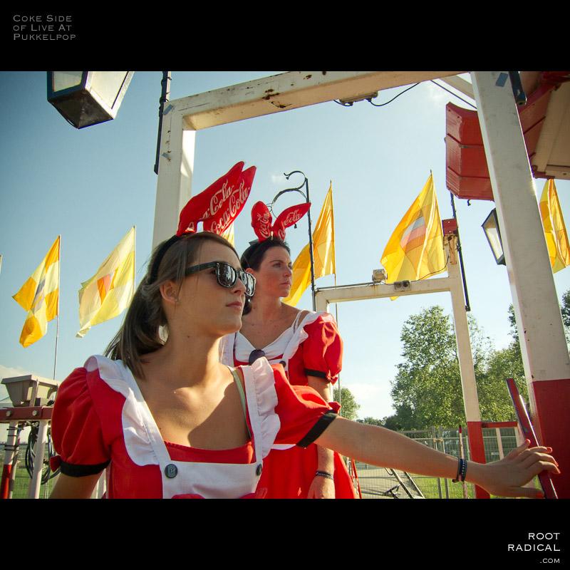 Two promo Coca Cola promo girls at Pukkelpop festival 2010