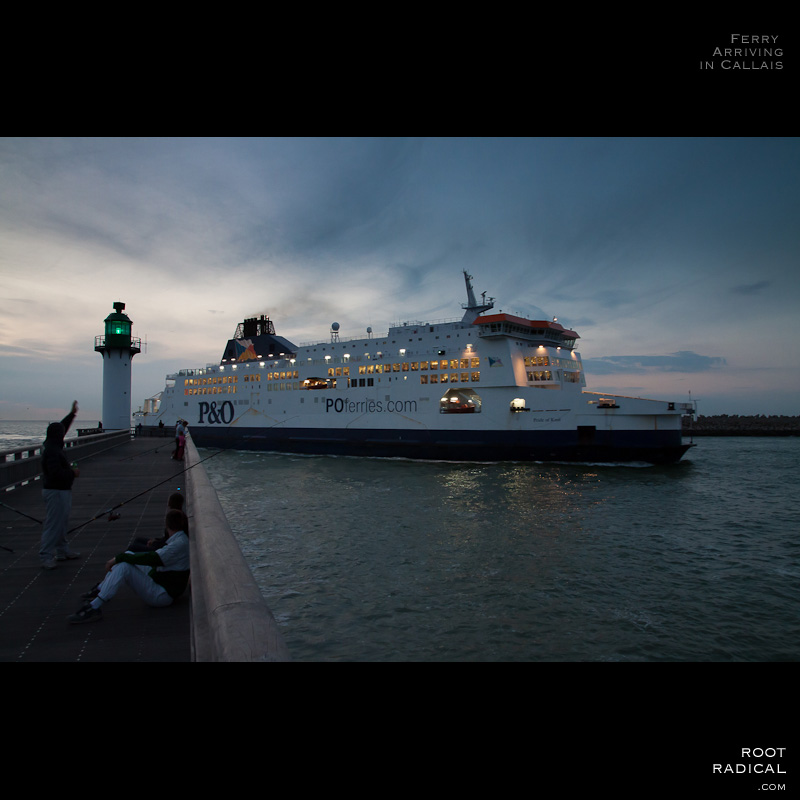 A P&O ferry cruising the english channel and arrive in Calais habour.