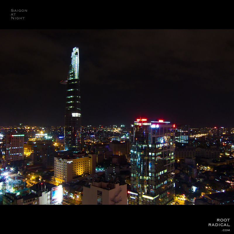 Night-photo of Saigons skyline.