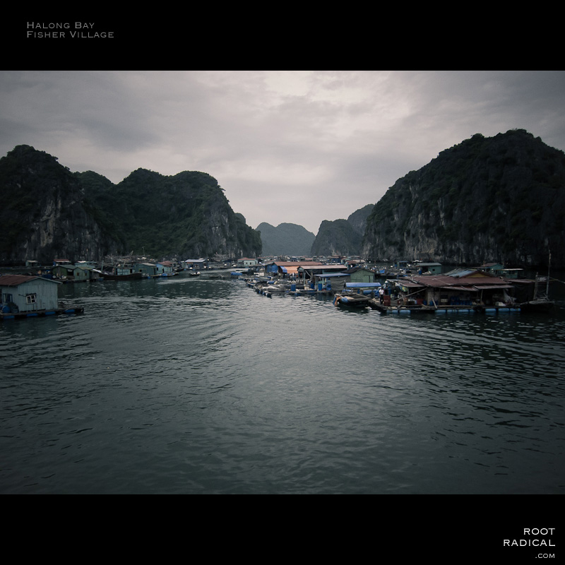 Incredible swimming fisher village in Halong Bay, Vietnam.