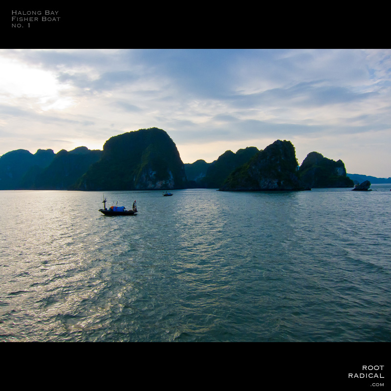 Romantic halong bay with fisher boat