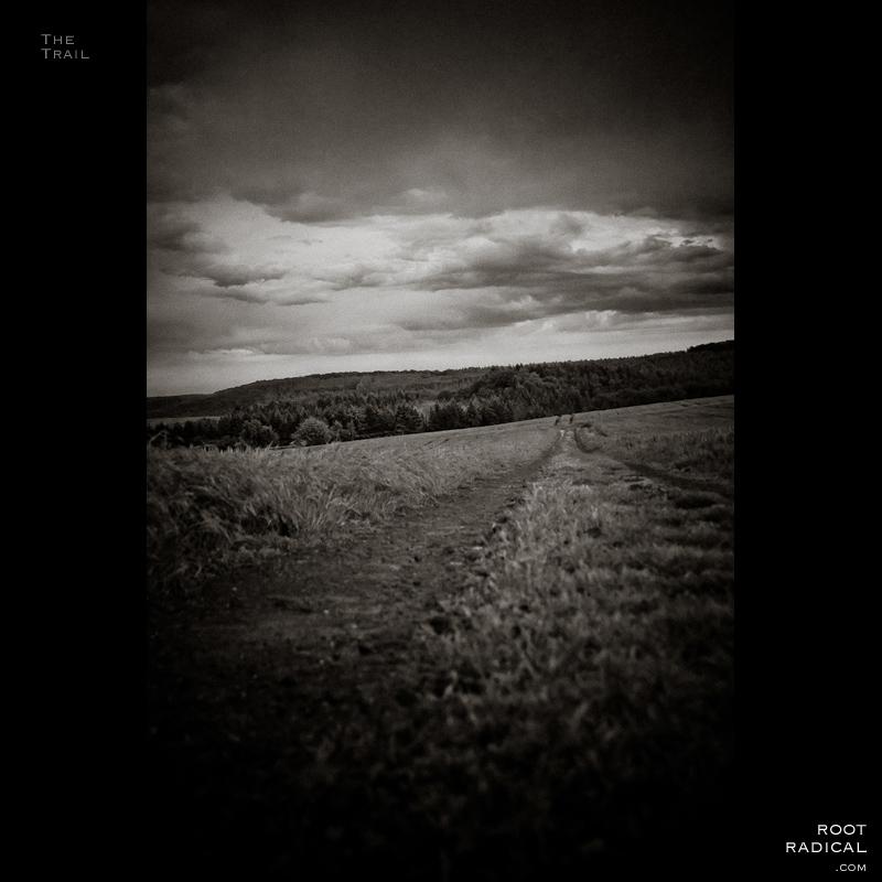 Black an white photo of trail through a rural landscape.